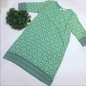 EVERLY green abstract shift dress